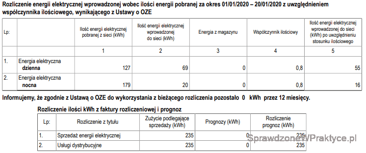 Faktura energia elektryczna styczeń 2020