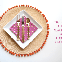 DIY: Pom-Pom Fringe Placemat + Dinner Napkins