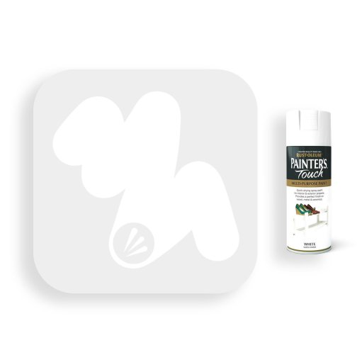 Rust-Oleum-White-Satin-Spray-Paint-400ml-Painters-Touch-Swatch