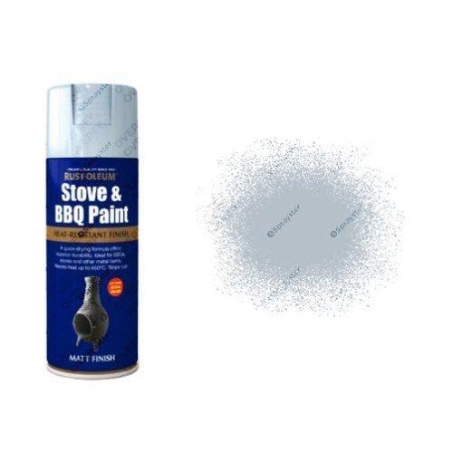 Rust-Oleum Matt Silver Heat Resistant Spray Paint 400ml