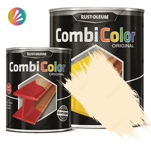 Direct-To-Metal-Paint-Rust-Oleum-CombiColor-Original-Satin-750ml-Sprayster-Clear-Ivory