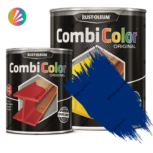 Direct-To-Metal-Paint-Rust-Oleum-CombiColor-Original-Satin-750ml-Sprayster-Gentian-Blue