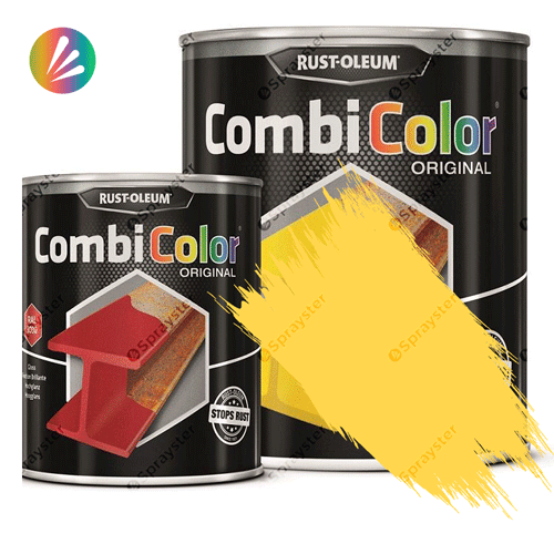 Direct-To-Metal-Paint-Rust-Oleum-CombiColor-Original-Satin-750ml-Sprayster-Light-Yellow