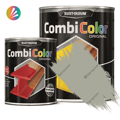 Direct-To-Metal-Paint-Rust-Oleum-CombiColor-Original-Satin-750ml-Sprayster-Silver-Grey