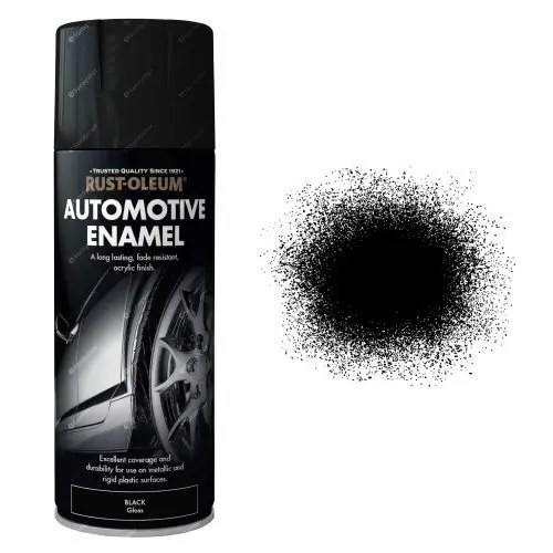 Rust-Oleum Black Gloss Enamel Spray Paint 400ml Automotive