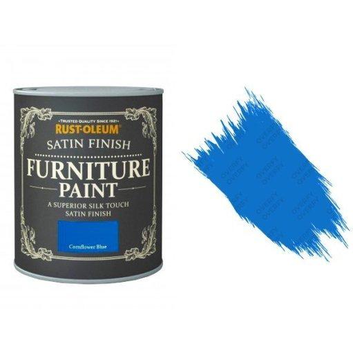 Rust-Oleum Cornflower Blue Furniture Paint 750ml Shabby Chic Toy Safe Satin