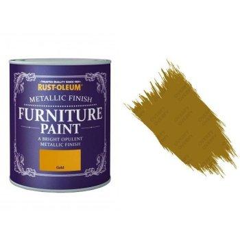 Rust-Oleum Gold Furniture Paint 125ml Shabby Chic Metallic