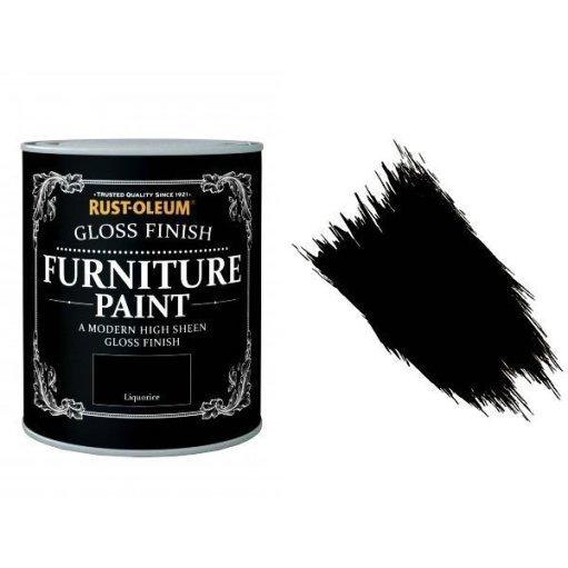 Rust-Oleum Liquorice Furniture Paint 750ml Shabby Chic Toy Safe Gloss