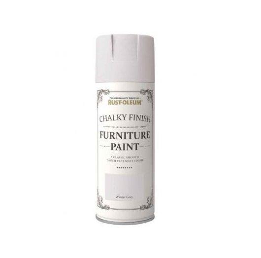 Rust-Oleum Winter Grey Chalky Spray Paint 400ml Shabby Chic Furniture Finish