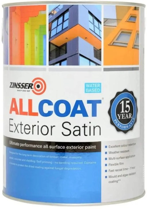 Zinsser Allcoat Exterior Satin 15 Year WB Anthracite Grey RAL 7016 2.5L