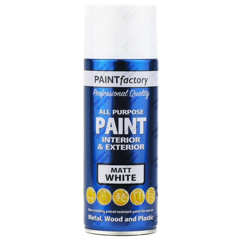 1-x-400ml-All-Purpose-White-Matt-Aerosol-Spray-Paint-Household-Car-Plastic-391531078961