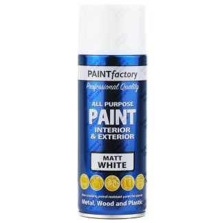1-x-400ml-All-Purpose-White-Matt-Aerosol-Spray-Paint-Household-Car-Plastic-391531078961