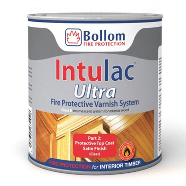 Bollom Intulac Ultra Top Coat Varnish 4 Timber Fire Resistant Paint Clear  Satin 500ml