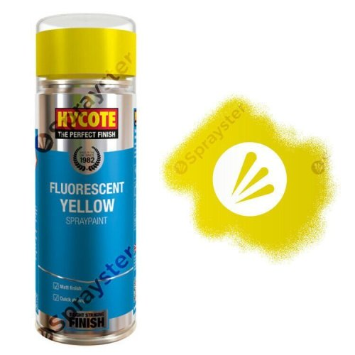Hycote-Yellow-Fluorescent-Neon-Matt-Spray-Paint-Multi-Purpose-400ml-XUK472-392295445238