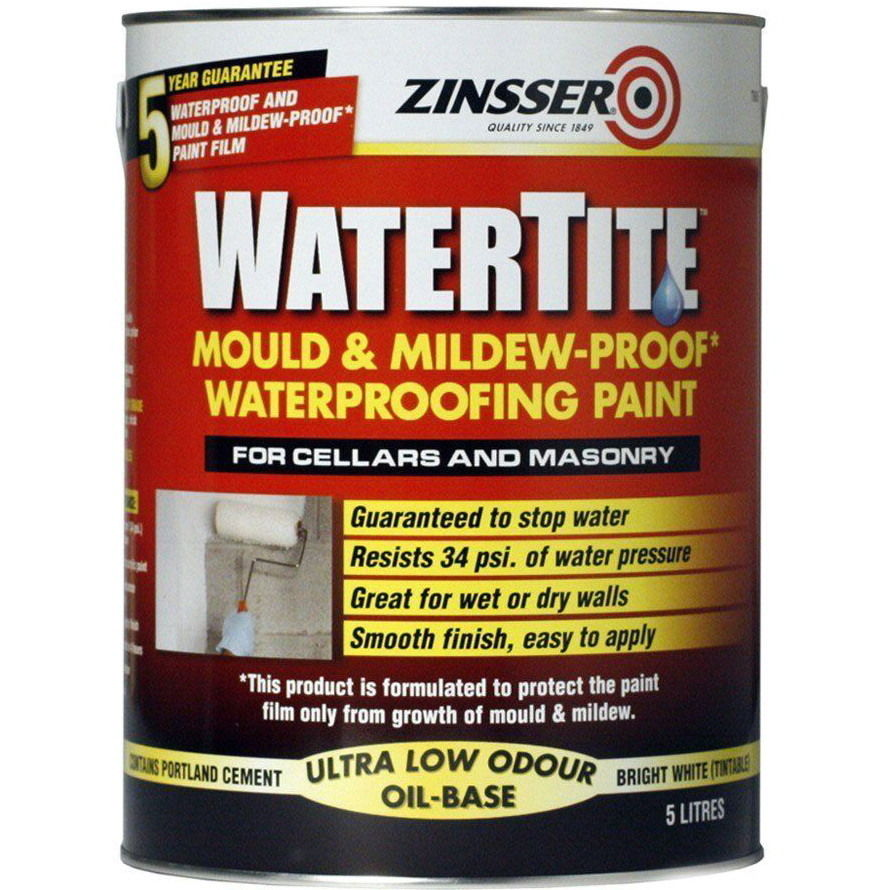 Zinsser Watertite Mould And Mildew Proof Waterproofing Paint Bathroom ...