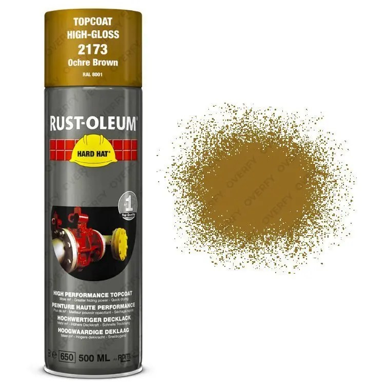Rust-Oleum Ochre Brown Spray Paint Industrial Hard Hat® Gloss 500ml