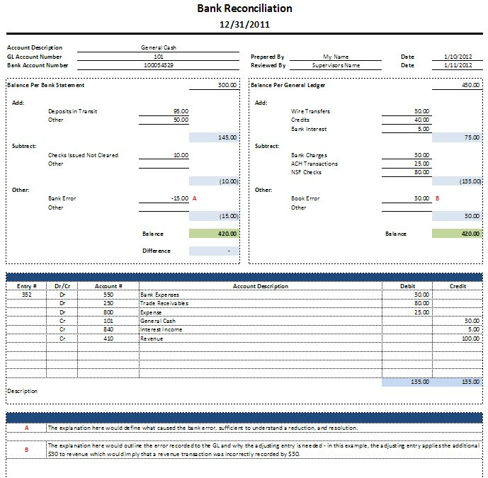Free Excel Bank Reconciliation Template Download – Blank Bank Reconciliation Template