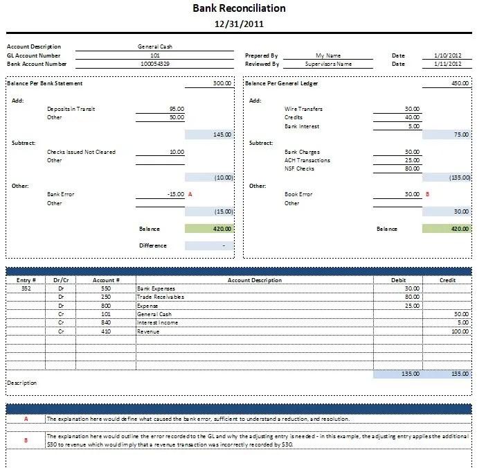Bank Reconciliation Download Spreadsheetshoppe – Bank Reconciliation