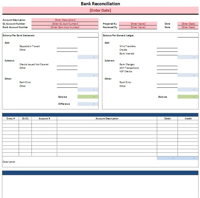 Awesome Bank Reconciliation Template