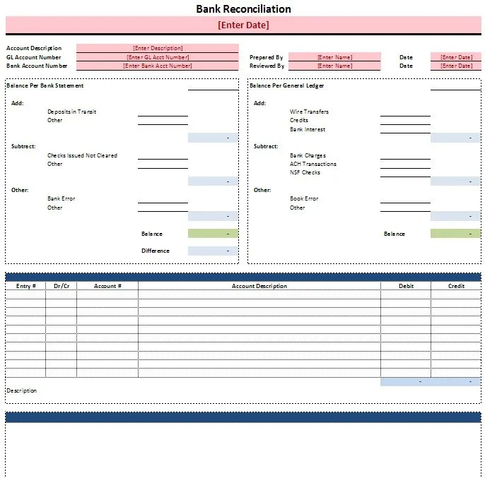 Free Excel Templates Accounting Tools – Bank Reconciliation Form