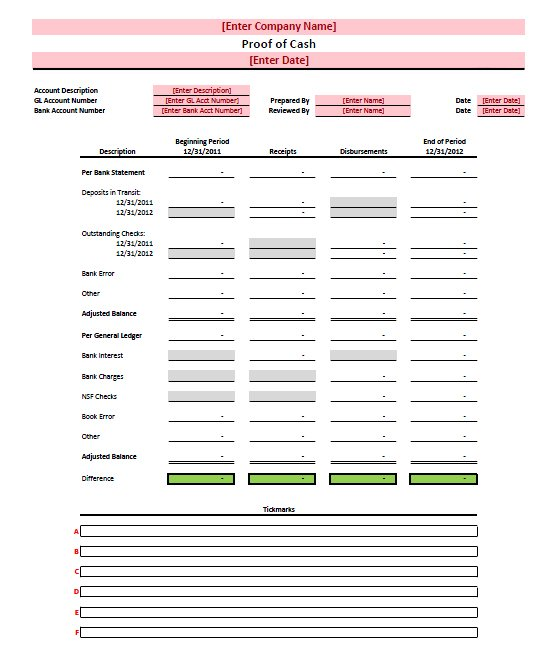 Proof of cash template Free Download – Bank Account Reconciliation Template