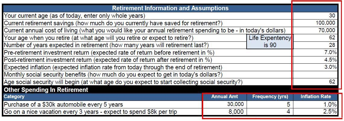 Free Excel Template - Retirement Calculator