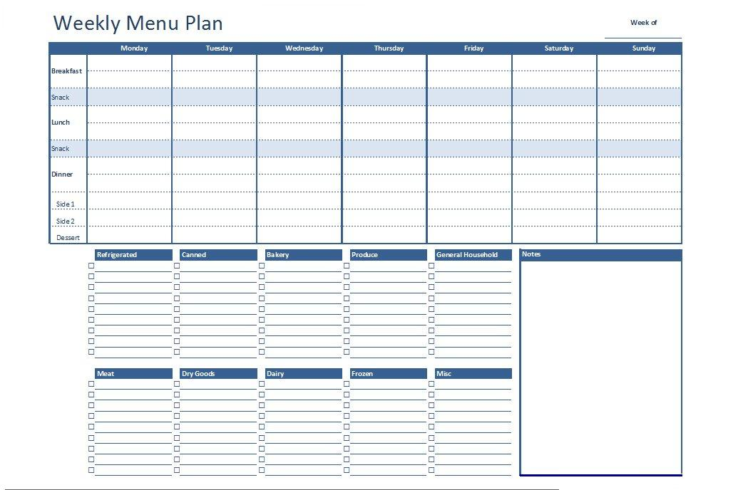 Weekly Menu Plan Excel Template  Grocery List Template Excel Free Download