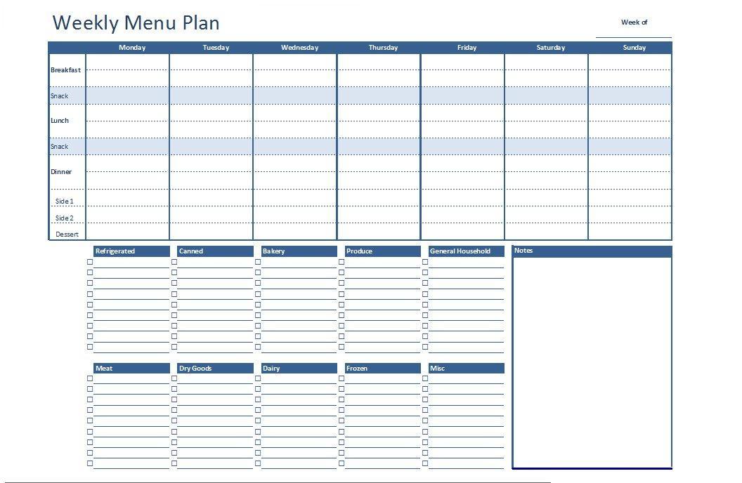 photo regarding Printable Weekly Menu Planner named Cost-free Excel Weekly Menu Program Template Dowload