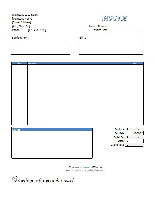 Excel Service Invoice Template Free Download