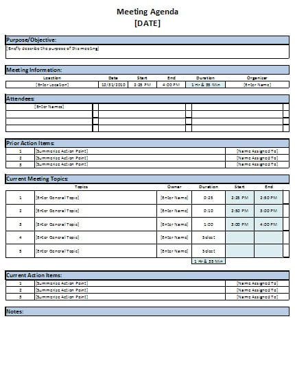 Free Excel Meeting Agenda Template Download – Agenda for a Meeting Template