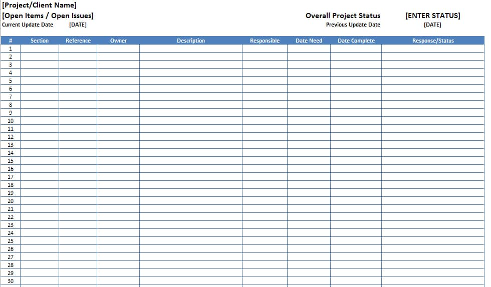 Free Excel Open Items Template Download