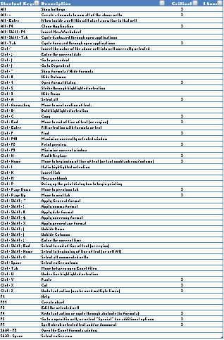Excel Shortcut Keys Template - Free Download