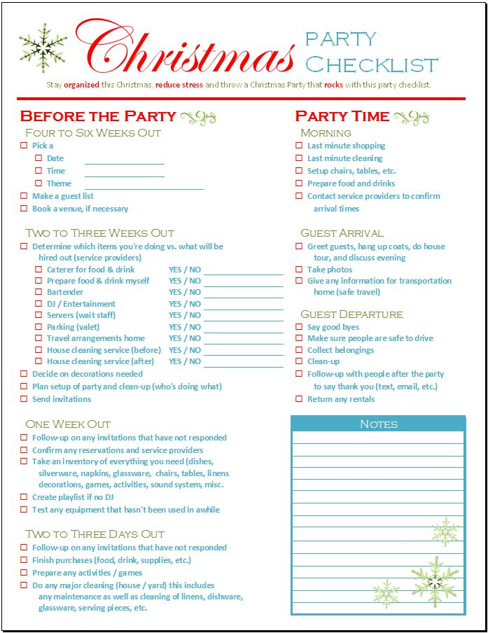 christmas party checklist spreadsheetshoppe