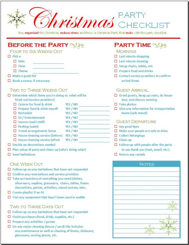 Christmas Party Checklist - Spreadsheetshoppe