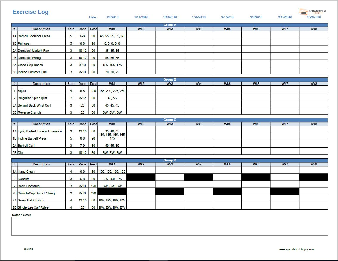 Workout log template spreadsheetshoppe 8 week workout log alramifo Images