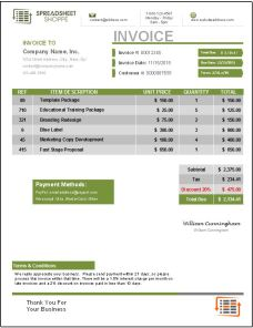 Invoice Template Everest Green