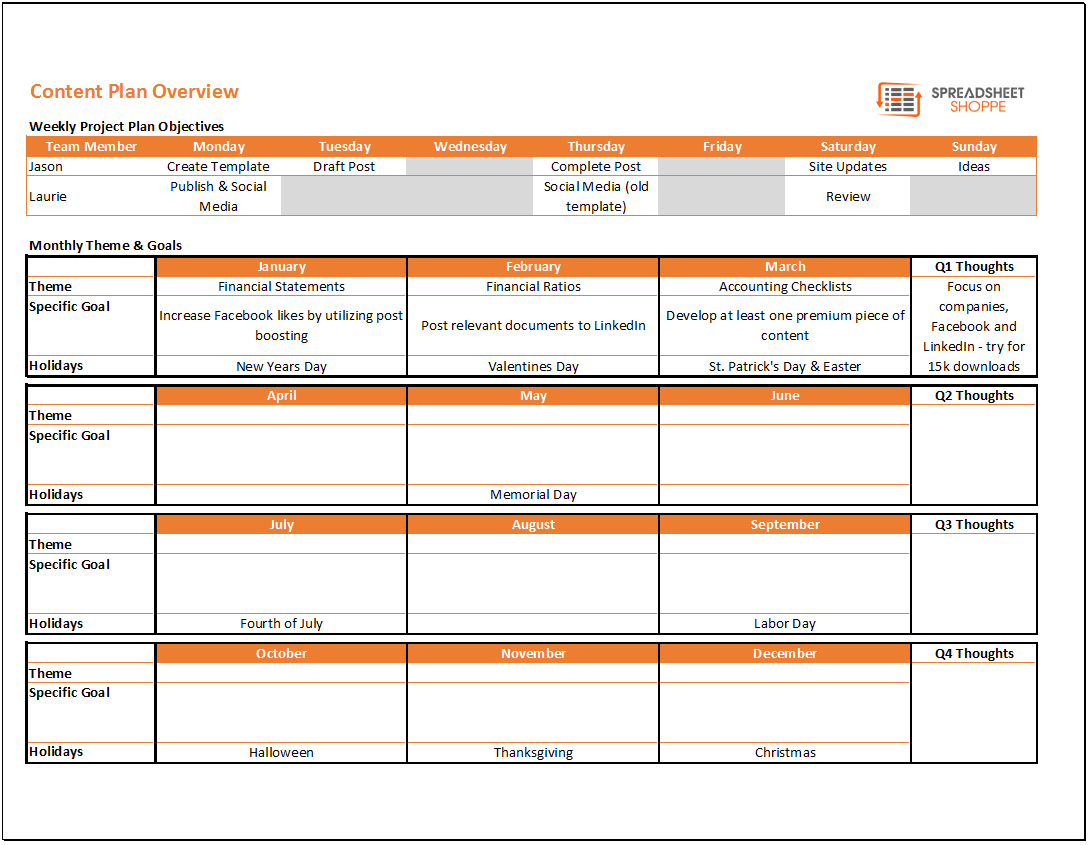 Content Calendar and Plan Template - Spreadsheetshoppe
