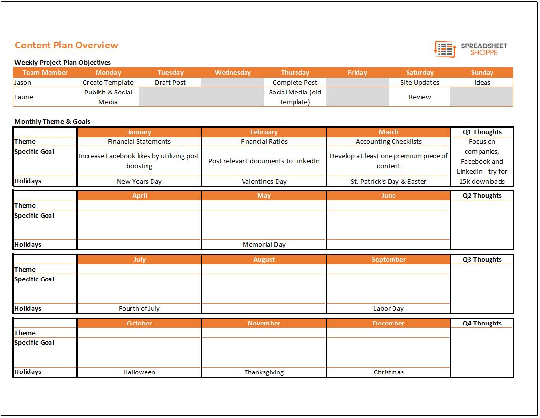 Calendar Planner Layout : Content calendar and plan template spreadsheetshoppe