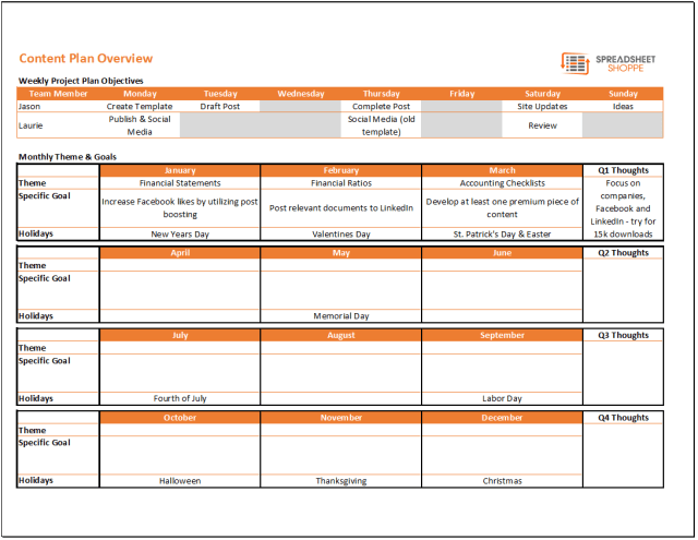 Content Calendar And Plan Template Spreadsheetshoppe