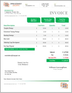 Denali Invoice Template - Green