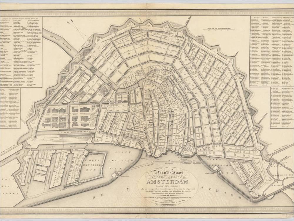 Kaart van Amsterdam met weergave van de zestig burgerwijken en twaalf wijken voor stadsdoctoren op schaal ca. 1:5.900, gegraveerd door Daniël Veelwaard jr. en uitgegeven door Mortier, Covens en Zoon. Oriëntatie: zuidwest boven