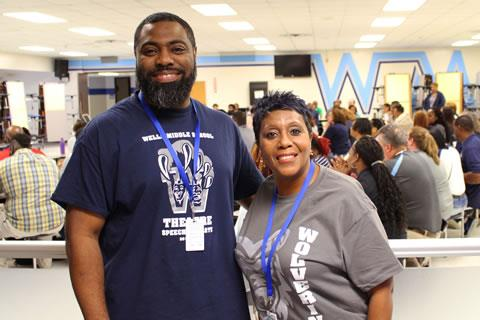 Returning Spring ISD teachers Johnny Williams, from left, and Jeanette Love join new and returning faculty for a culture-building session during their first day back at the Wells Middle School campus