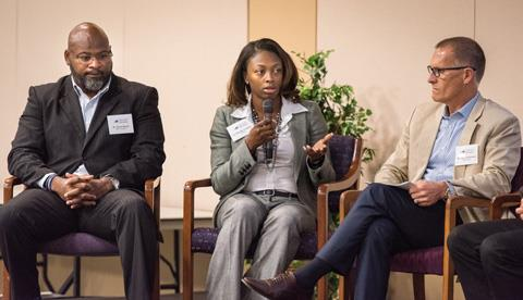Bammel Middle School Restorative Practice Coordinator Keon Banks and Bammel Principal La'Quesha Grigsby, join Arrow Academy Superintendent Dr. Jim Christensen onstage during at a recent HCDE conference