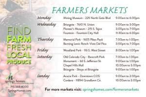 Colorado Springs Farmers Markets Schedule Summer 2018
