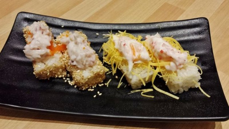 Spicy Squid Leg Salad & Ebiko with Sesame Pressed Sushi and Crab Salad with Egg Pressed Sushi