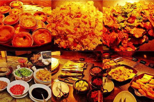 Egg Tarts, Fried Rice, Oyster Omelette, Nasi Lemak & Bak Kut Teh with condiments
