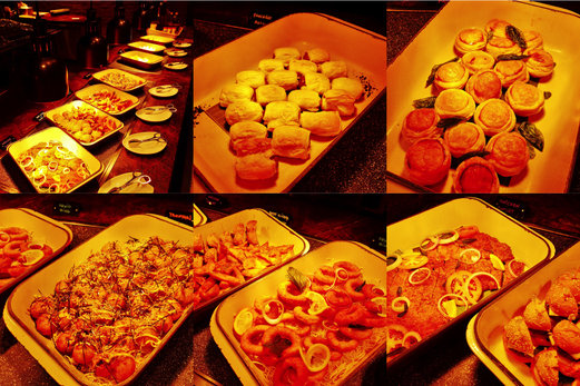 Baked pastries like sausage rolls, mushroom puffs & fried items like squid rings, chicken cutlet. There were takoyaki balls and beef sliders too.