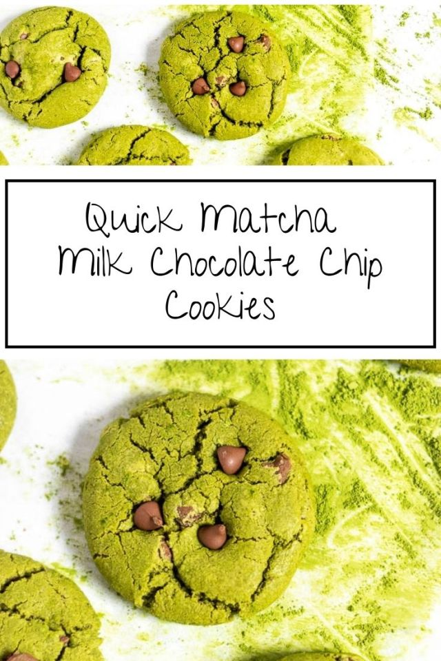 Quick Matcha Milk Chocolate Chip Cookies