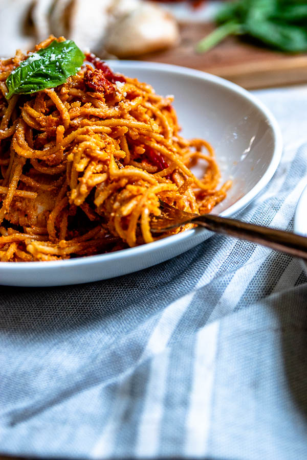 lightened-up sun dried tomato pasta