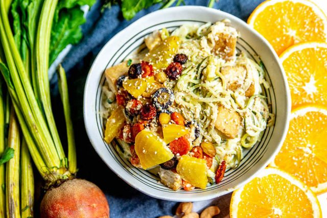 Orange Cashew Sesame Zoodles